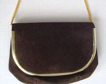Vintage Clutch Handbag, Brown Suede,1960's, Mod, Convertible, Purse, by HL Harry Levine, Women's Ladies Handbags