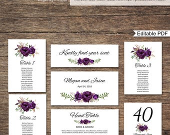 Wedding Seating Chart Template, Seating Cards, Floral Wedding Table Plan, Eggplant, Purple, #A039, INSTANT DOWNLOAD, Editable PDF
