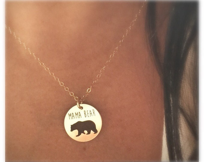 Mama Bear Necklace in Sterling Silver, Yellow Gold or Rose Gold, Christmas gift,