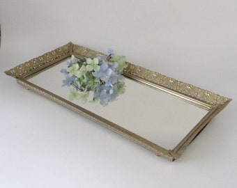 Vintage Mirrored Vanity Tray with Gold Tone Upturned Edge - Lovely - Vanity Tray - Dresser Tray - Perfume Bottle Tray - Gift for Her
