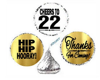 22nd Birthday Anniversary Hooray Thanks For Coming Stickers / Labels for  Hershey's Kisses Party Favors Decorations - 216pk