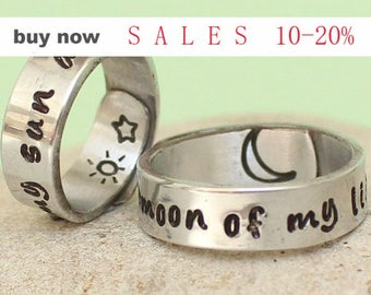 Moon of my Life My Sun and Stars Rings  Hand Stamped Rings  Personalized Couples rings   Game of thrones relationship rings  Couples Ring