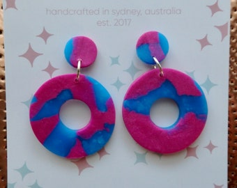 Blueberry Circle Dangle Earrings