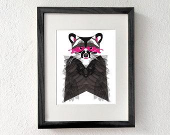 Raccoon wall decor, Raccoon wall art, Raccoon decor, nursery wall decor, Raccoon gifts, Raccoon art, Animal wall art print, Raccoon print