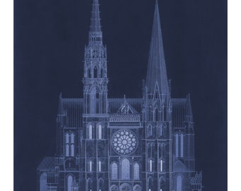 Cathédrale de Chartres in Blue - Vintage Architecture Blueprint - Old Maps and Prints - Architectural Drawing - Restoration French Decor