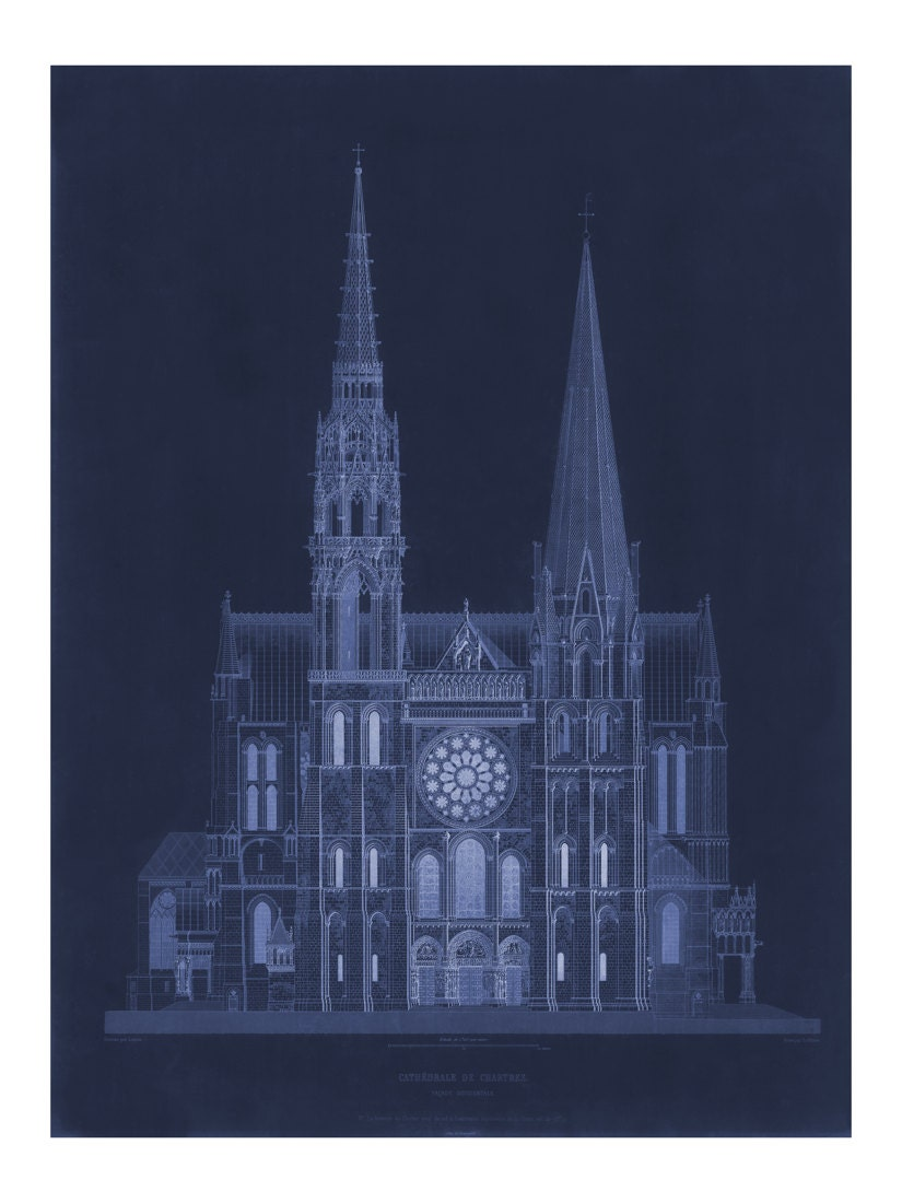 Cathdrale de chartres in blue vintage architecture blueprint cathdrale de chartres in blue vintage architecture blueprint old maps and prints architectural drawing restoration french decor malvernweather Gallery