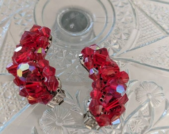 Red Iridescent Crystal Bead Earrings Vintage