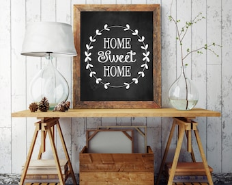 Home Sweet Home Print,  Printable 8x10, Home Sweet Home Printable, Chalkboard Printable, Home Sweet Home Sign, Typography Printable, Digital