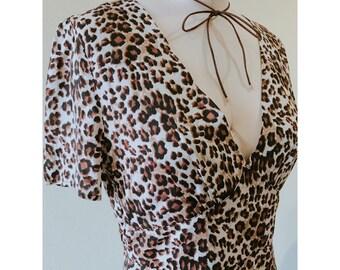 Leopard Print Dress/Vintage Dress/Animal Print Dress/Zip Up Dress/Peplum Dress/Peplum Dress/Cheeta Print Dress/Day Dress/Party Dress