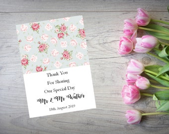 Personalised Wedding Thank You Cards with Matching Envelopes Pack Of 10 TY92