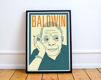 James Baldwin Print  Giovanni's Room, Notes of a Native Son, Civil Rights Movement, American Literature