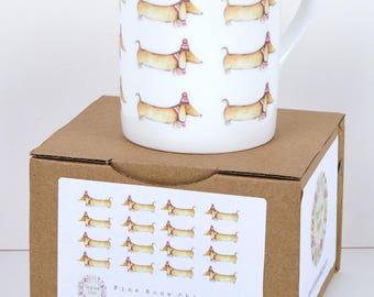 Sausage Dog Bone China Mug featuring Doris the Dachshund 2 mugs