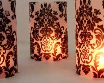 Short damask luminaries, set of 10, damask party decorations, luminaries, wedding table decor, black and white party decorations, luminary