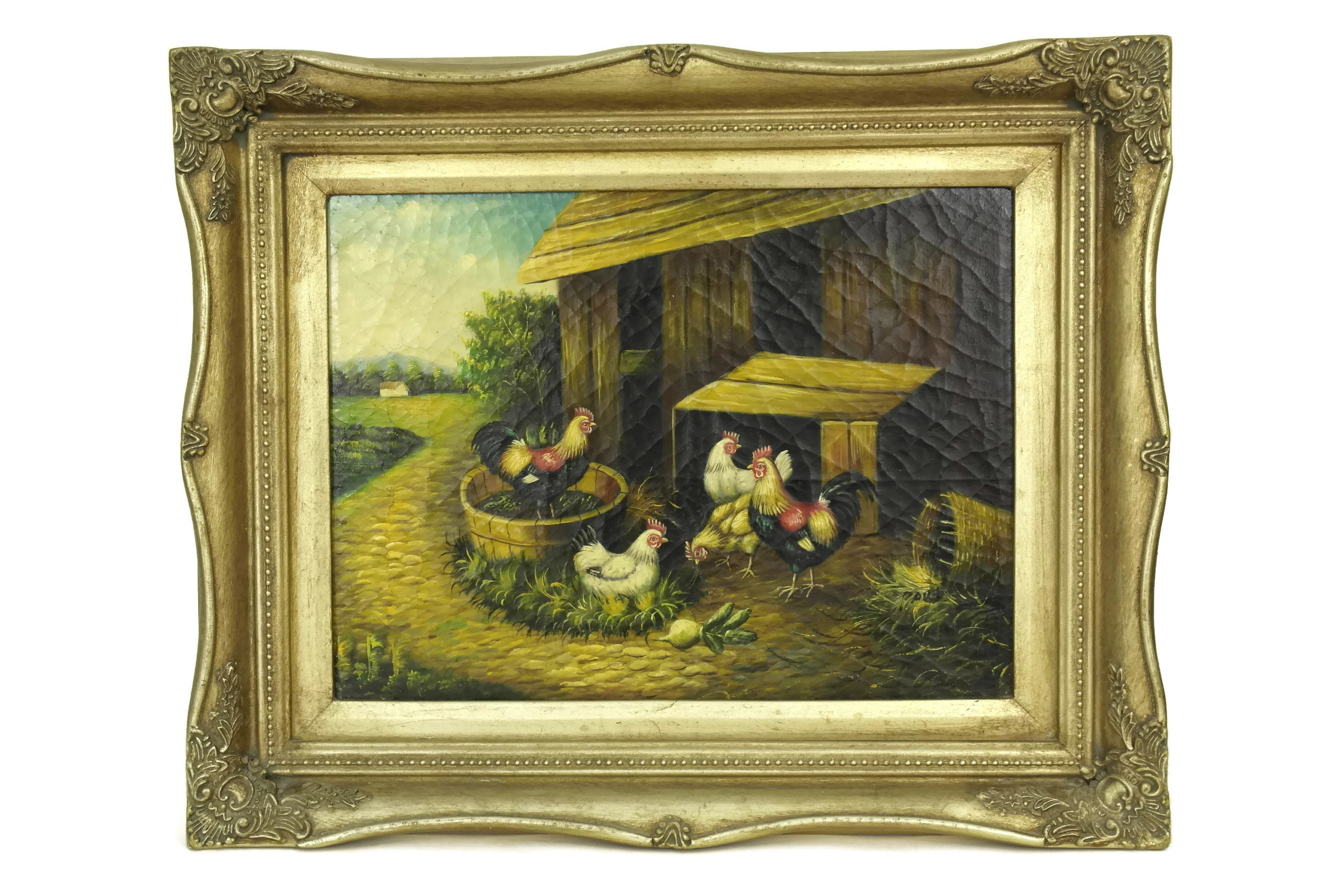 Vintage Farmyard Hens & Rooster Painting in Gold Frame. French ...