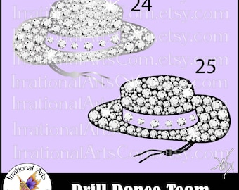 Drill Dance Team Silhouettes Rhinestones Poses 24 and 25 Hat - 2 EPS & SVG and 2 PNG digital file and Scl