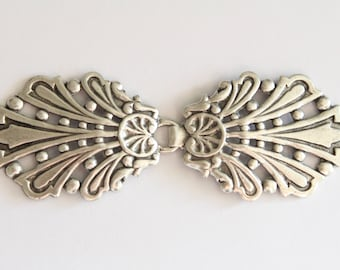 Beautiful vintage style oxidized silver hook clasp buckle - 3.25 inches (1)