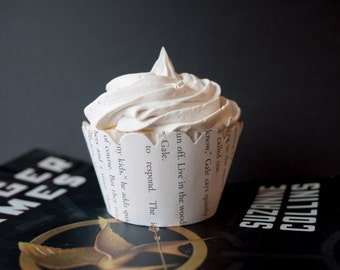 Hunger Games Cupcake Wrappers - One dozen wrappers - Book pages - Katniss, Peeta, Gale - Ready to ship