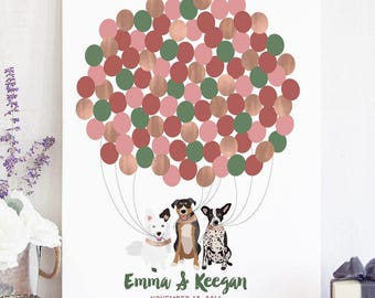 Wedding Guest Book Sign with Dogs  - Unique Wedding Guest Sign In - Wedding Idea for Dogs - Dog Wedding Sign - Dog of Honor -