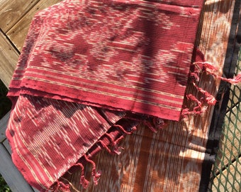 Handwoven Cotton Bali Ikat Thread Dyed Runner, Wall Hanging or Large Bhutan Textile. Vintage Textile, Ethnic, free US ship