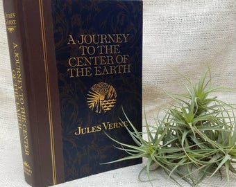 Vintage A Journey to the Center of the Earth by Jules Verne Reader's Digest gilt book cover Library Classic Literature Novel Home Staging