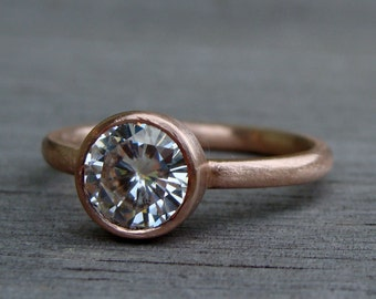 Moissanite Engagement Ring (1.25 carat, Forever One GHI) - Recycled 14k Rose Gold, Made to Order - Eco-Friendly Ethical Diamond Alternative