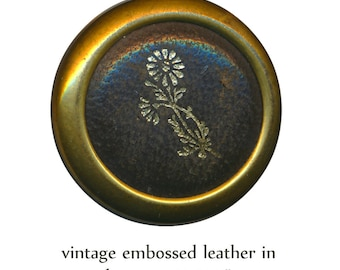 Button--Medium Vintage Gold Flower Embossed Pebbled Leather in Brass