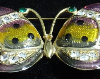 Costume Enamled and Rhinestone Butterfly Brooch
