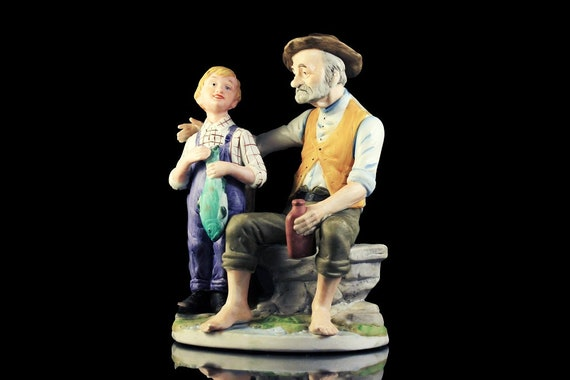 Flambro Figurine, Old Man And Boy, Statue, Fine Porcelain, Hand Painted, Collectible
