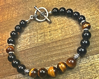 Mens beaded bracelet, mens bracelet, beaded bracelet, stretch bracelet, jewelry, gifts for men, stackable bracelet, gifts for women