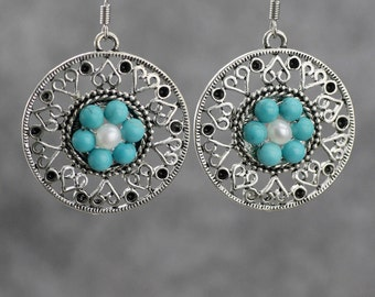 Turquoise earrings, flower earrings, dangle earrings, handmade jewelry, anniversary gifts, Bridesmaids gifts, Free US Shipping