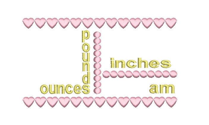 Baby Birth Announcement Template Embroidery Design, Baby Girl Birth ...