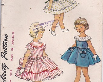 1950's Sewing Pattern - Simplicity 4954 Girls Dress, Size 6 Cut, Complete