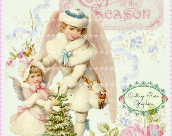 Pink CHRISTMAS Angels vintage shabby Compliments of the Season Large digital download  ECS buy 3 get one free