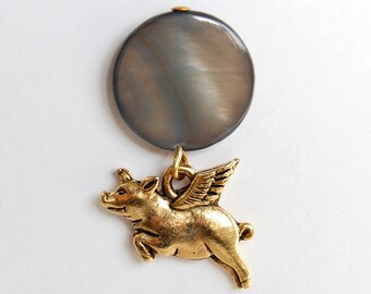 Flying Pig Golden Blue Gray Tie Tack, Pigasus Lapel Pin, When Pigs Fly Pin, Whimisical Pig with Wings Pin