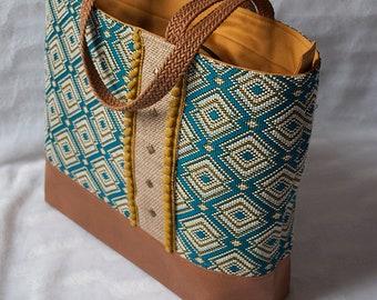 """Madison"" tote bag geometric fabric"