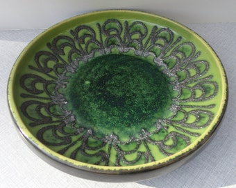 70s Vintage Strehla Ceramic Bowl // Green // East Germany