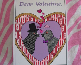 Valentine with Pigeons - Gay version - Hearts - Love Birds