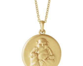14K Yellow OR White Gold Buddha Necklace Religious Jewlery