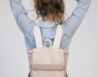 Ivory Backpack, Pink Backpack, Nude Backpack, Canvas Backpack, Natural Backpack, Laptop Backpack, Minimalist Backpack, Beige Backpack
