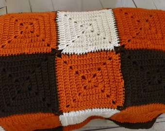 Crcohet SquareAfghan Blanket in Brown, orange and Antique White