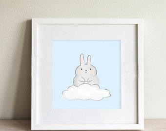 Bunny on Cloud Nursery Wall Art   Clouds   Animal Illustration   Digital Download