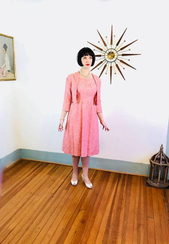 Vintage 50s Full Lace Dress Jacket Set, 50s Full Skirt dress, Pink lace Suit, Ladies Two Piece, Vintage 1950s Dress, 50s cropped bolero, 10