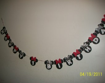 Minnie Mouse Happy Birthday Banner with zebra and red bows