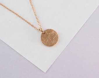 Fingerprint Necklace - Disc Fingerprint Necklace - Memorial Jewelry - Condolence Gift - Fingerprint Jewelry
