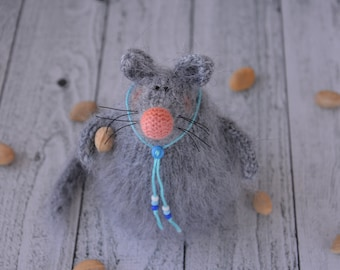 Miniature mouse grey woodland amigurumi plush knitted mouse hand knit toy stuffed animal softie mouse amigurumi stuffed toys Easter decor
