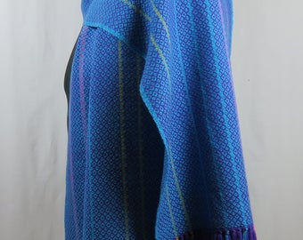 Purple and Turquoise Handwoven Merino Wool Scarf, 7 Feet Long, Turquoise and Purple Scarf with Pink and Gold Accents, Ready to Ship