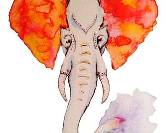 Orange Elephant - Print