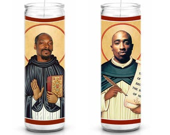Snoop Dogg and Tupac Saint Celebrity Prayer Candle Set