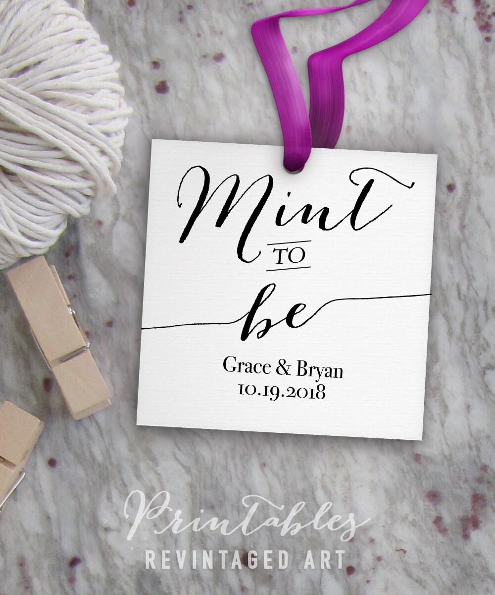 Printable Wedding Tag Template // Editable Mint to Be Tags // DIY ...