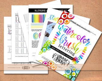Upper-case Watercolor Brush Lettering worksheets Alphabet + Practice Drills plus Tips - DIGITAL PDF File Only